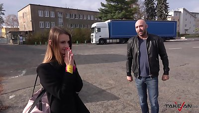 Brunette teen babe Adelle picked up on the street and fucked in a car