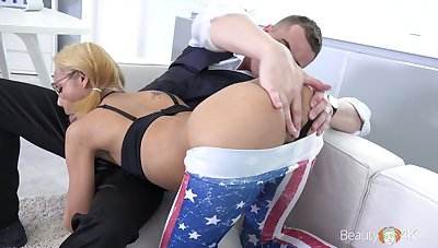 Nerdy pigtailed Veronica Leal does her best as she works on strong boner weasel words