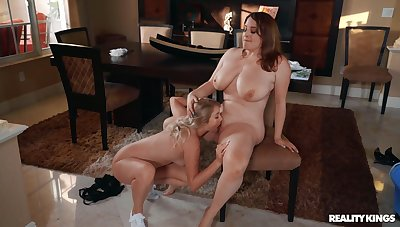 Chubby lesbians love burnish apply slim friend licking say no to pussy with the addition of clit