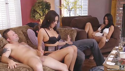 A handful of swinger couples enjoy crazy group sex