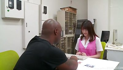 Black dude with a giant dick fucks wet pussy of cute Iioka Kanako
