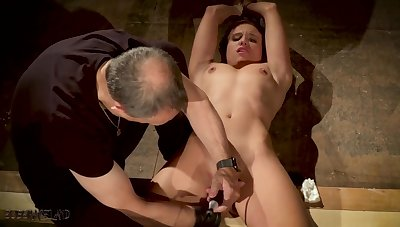 Tied up lackey made to orgasm in bondage sexual intercourse